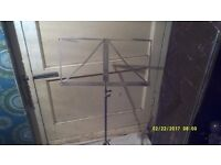 MUSIC STAND in NICKEL PLATE , STURDY CONSTRUCTION ( NOT a FLIMSY ) in V.G.C.