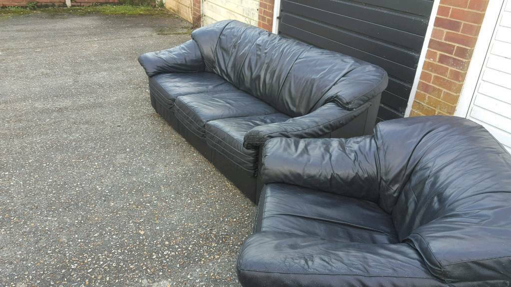 Black leather sofa free delivery
