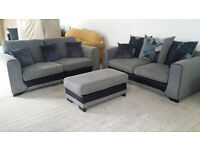 Graded Grey Fabric 2 + 3 Seater Sofa Suite with footstool FREE Local Delivery