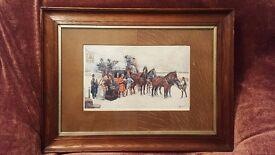 Charles Dickens' Print from Nicholas Nickleby by Ludovici Oak Frame & Unusual Oak Veneer Mount