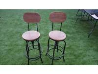 Rustic industrial bar stools wooden top shabby chic kitchen seat