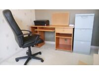 Desk, Chair, Printer and Filing Cabinet