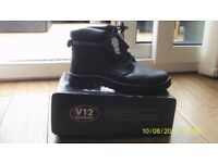 V12 Bison, Waxy Derby Safety Boot, Size 12 UK 47 EU, Black New New