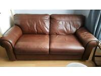 3 seater brown leather settee