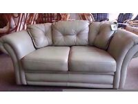 GOOD CONDITION! small 2 seater spearmint green leather sofa with 3 zip on cushions