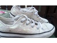 white shiny converse