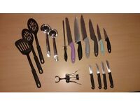 Set of kitchen cutlery and dish towel napkins