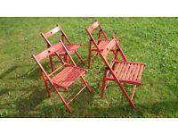 4x chairs folding Terje ikea red