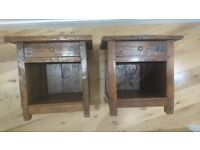 2 Rustic Lombok Reclaimed Teak Bedside/ Side/ Coffee Tables/ Cabinets/ Lockers/ Chests RRP £990