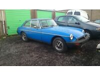 MGBGT, 1975,BLUE, MANUAL, STARTS WELL QUIET ENGINE, GOES INTO ALL GEARS, FOR RESTORATION £1175