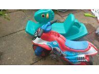 kids motor bike and horse