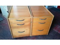 Filing Cabinet - 3 Drawer Quality Solid Wooden and Grey Metal Handle Filing Cabinet