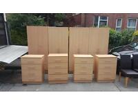 Very nice beechwood wardrobes with chrome handles £80,matching chests £40,very good condition
