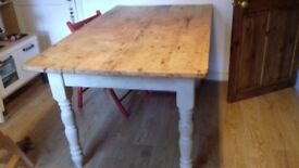 Farmhouse style / vintage dining table, pine