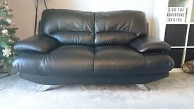 Harveys black leather 2 and 3 seater sofas and footstool