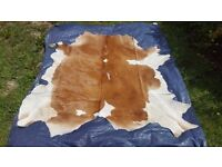 Large Cow Hide Rug - Chestnut Brown and White