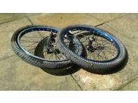 Used BMX metallic blue bike wheels