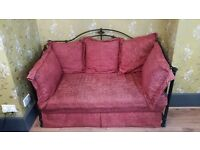 wrought iron red double sofa bed