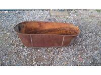 LARGE OLD TIN BATH PLANTER
