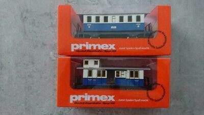 PRIMEX H0 4020 4021 Personenwagen und Bahnpostwagen weiß/blau OVP (#546)