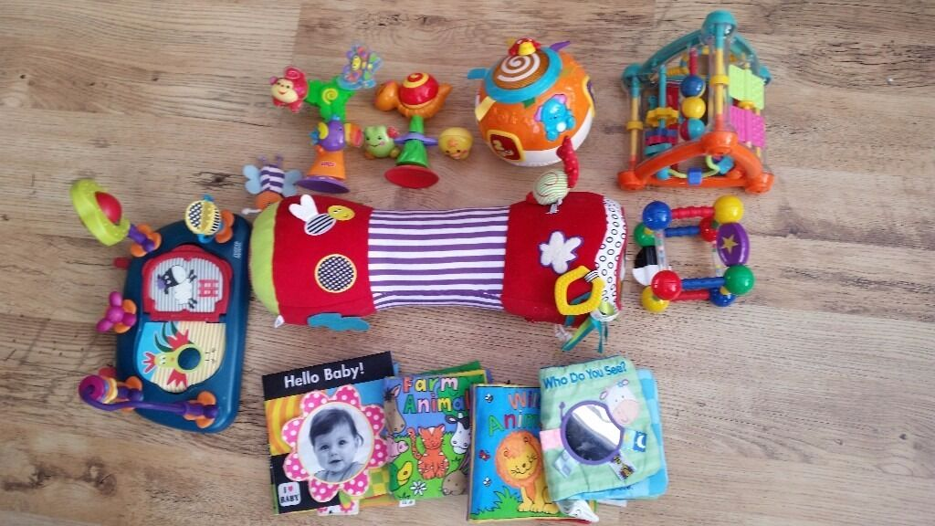 Baby toy bundle including piano play gym mat, walker, vtech ball, highchair toysin Normanton, West YorkshireGumtree - Baby toy bundle all items in good used condition from a pet and smoke free home. Any questions please ask ) Collection from WF6. Includes Fisher Price Rainforest kick and play piano gym Vtech Winnie the Pooh 2 in 1 activity walker Vtech crawl and...