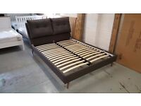BRAND NEW FREYA DOUBLE CUSHIONED HEADBOARD GREY FABRIC KING SIZE BED RRP £799 **CAN DELIVER**