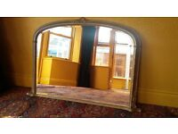 Overmantle Mirror with Ornate Gilt Frame