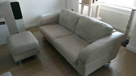 Cream DFS leather 3 seater sofa pouffe