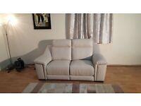 Ex-display Polo Divani Italian cream leather electric recliner 2 seater sofa