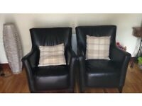 Two brown leather Chairs in excellent condition. £250 for pair. .