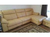 Italian cream real leather corner L shaped sofa with storage foot stool