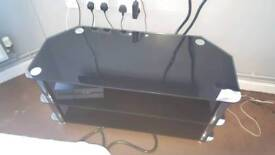 Large black glass n chrome tv stand