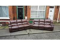 2 3 seater sofas in a dear grade of brown leather Hyde ,all reclining £125 each or £225 for both