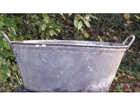 "Antique galvanised tub 34"" x 17"" 2 handles"