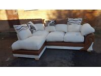 Stunning brand new brown & light beige fabric corner sofa. fantastic design. delivery available