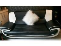 Leather 3 seater sofa & armchair