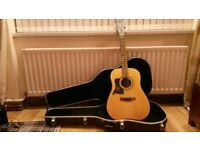 left handed acoustic 12 string guitar and case