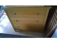 Ikea HEREFOSS Chest of 3 drawers, oak