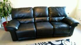 Black leather 3 seater recliner sofa