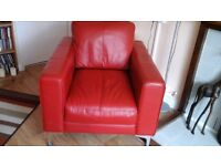 Red leather settee and matching chair. As new