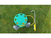 25m Hozelock hose pipe reel with hanging basket attachment - good condition