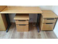 Solid Beech Wood Office Desk & 2 Pedestal Units