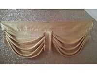 PAIR of Light Gold Curtain Pelmet/Swag with Gold Fringe Detailing