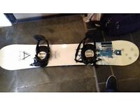 Sapient snowboard with bindings and bag . Good condition.
