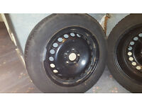 "Steel wheels and winter tyres. 16""x7J 5 hole, Focus alloy replacements. Continental tyres"