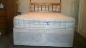 Cream four foot divan bed in excellent condition