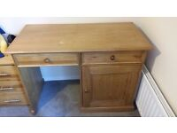 Solid wood desk. Great condition. Two sliding drawers and large storage cupboard. For collection.