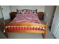 Pine double bed and 2 matching bedside cabinets