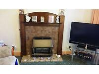 *BARGAIN!!!* Polished Oak Fire Surround INCLUDING Marble Hearth AND Gas Fire!!