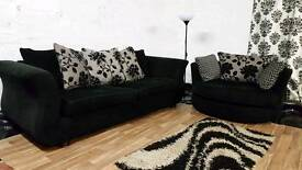 Black 3 seater+swivel chair**Free Delivery**